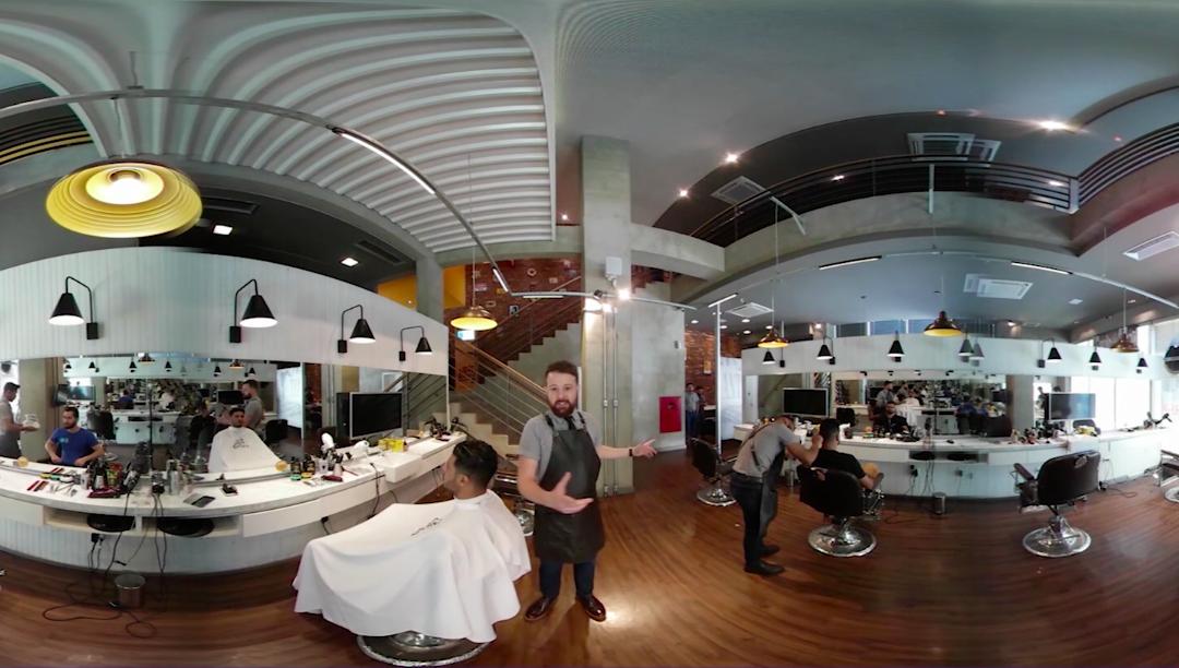 Um tour pela Barbearia Seu Elias com a BeautyClass em Realidade Virtual 4k